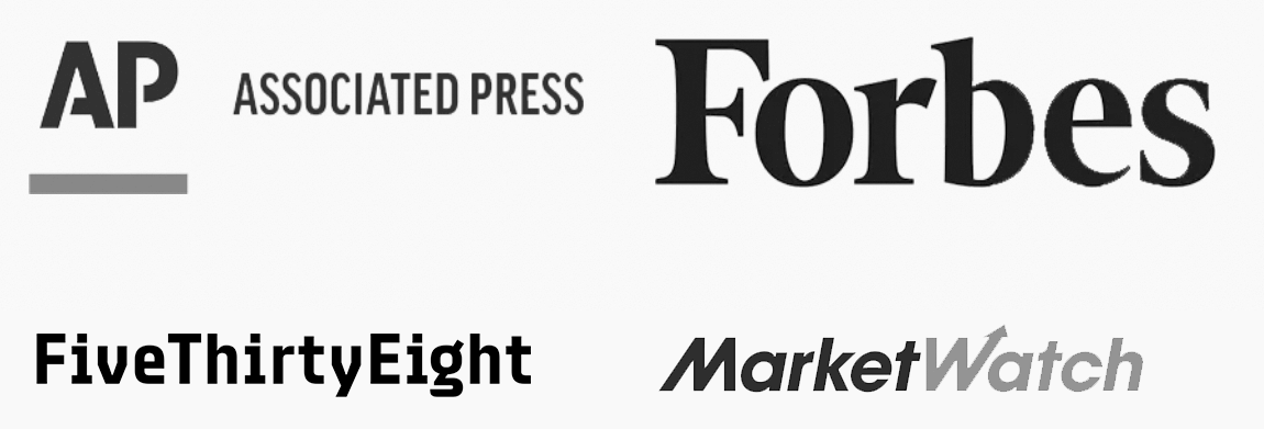 AP, Forbes, FiveThirtyEight, MarketWatch Logos