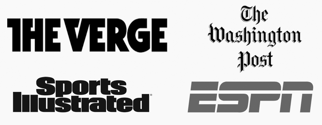 TheVerge, SportsIllustrated, WashingtonPost, ESPN Logos